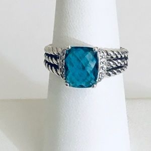 David Yurman 7 Petite Wheaton Blue Hampton Ring